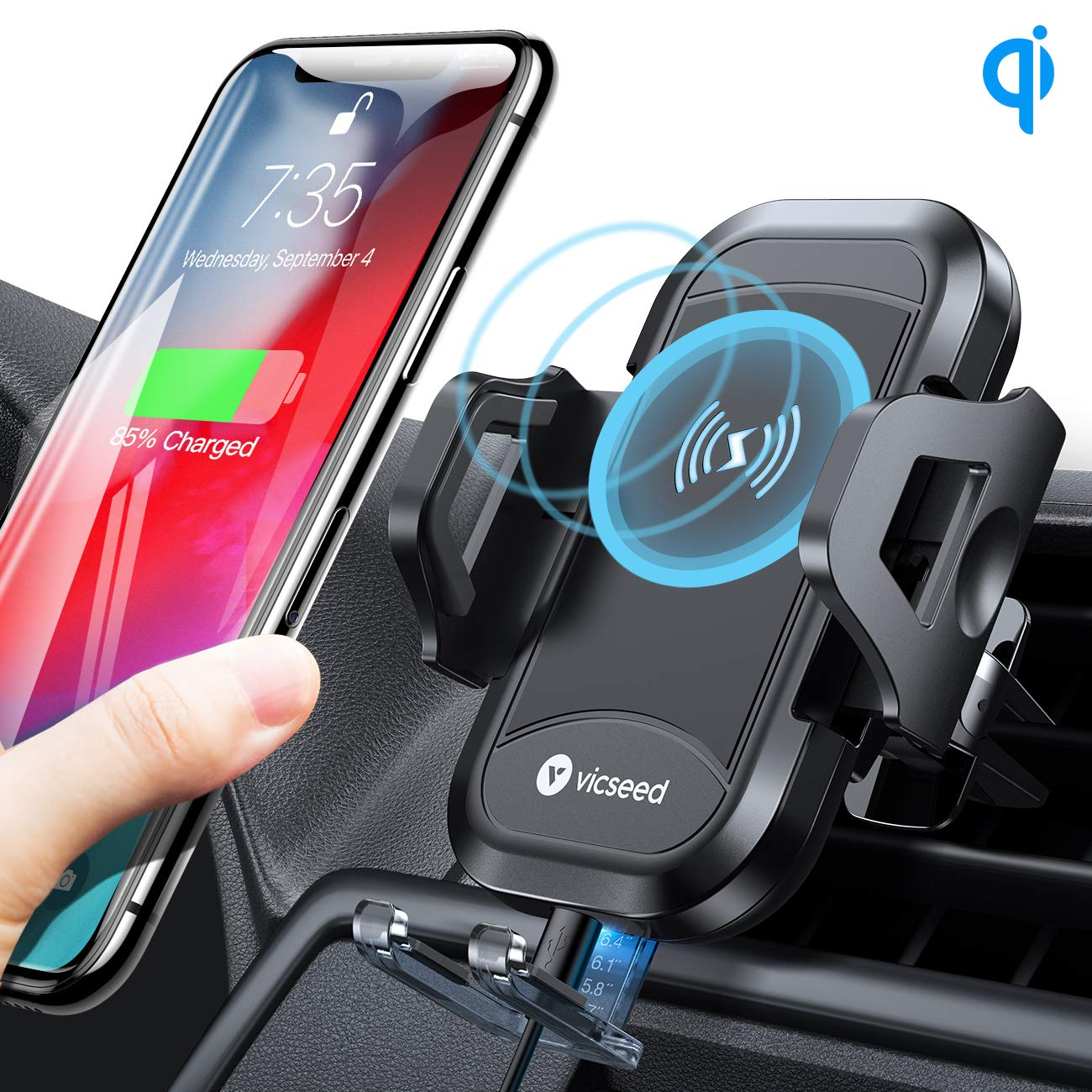 VICSEED Wireless Car Charger Mount Fast Charging Qi Wireless Car Charger 7.5W 10W Qi Car Charger Air Vent Phone Holder for Car Mount Fit for iPhone 11 Pro Max XS 8 Plus XR Samsung Note9 S10 S9 LG etc. by VICSEED