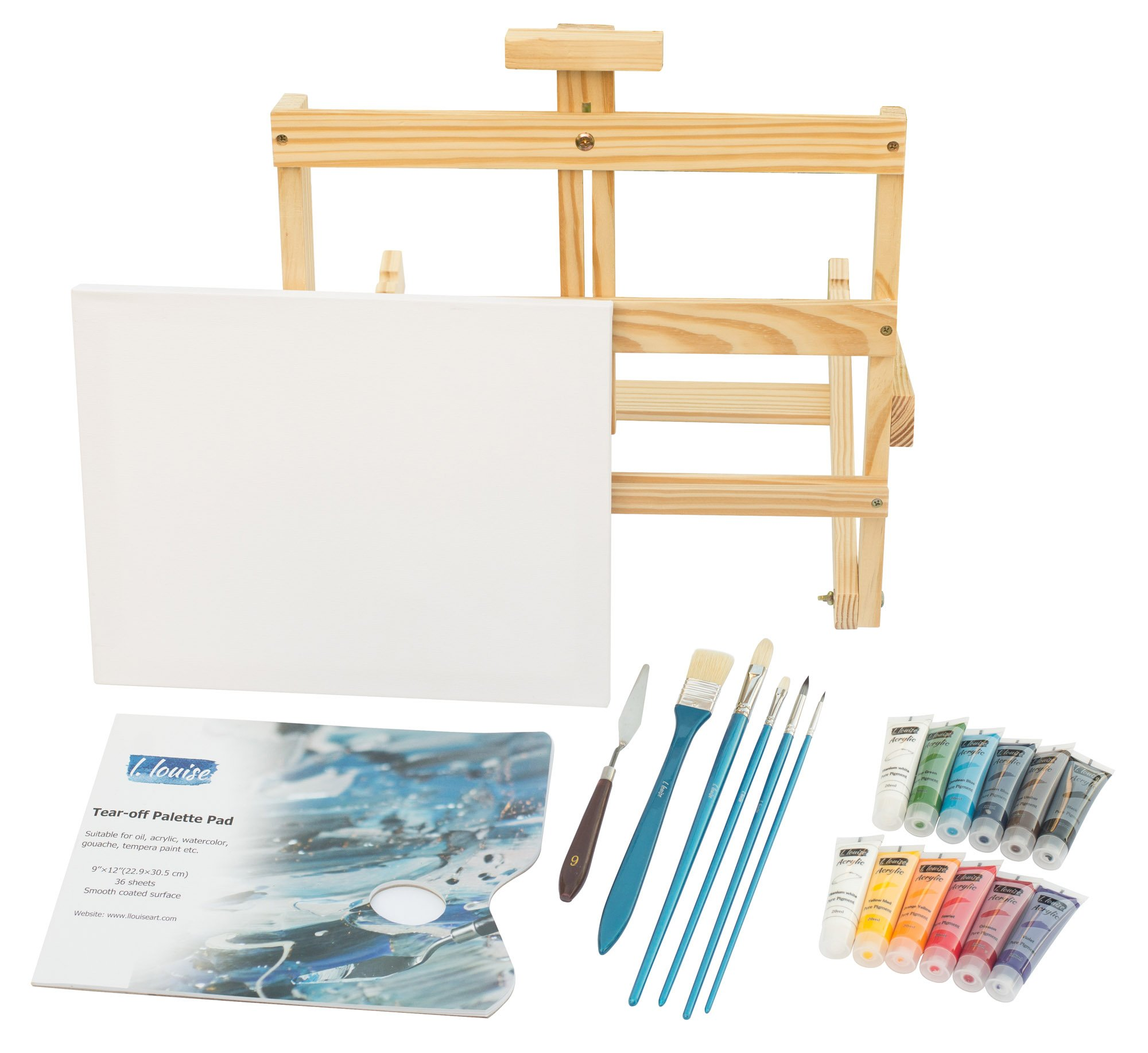 L.Louise Art Acrylic Paint Set with Easel, 5 Brushes, Palette Knife, 11'' X 14'' Stretched Canvas, Tear-Off Palette Pad, 12-20ml Tubes of Acrylic Paint. Includes Free Painting Lesson Video!