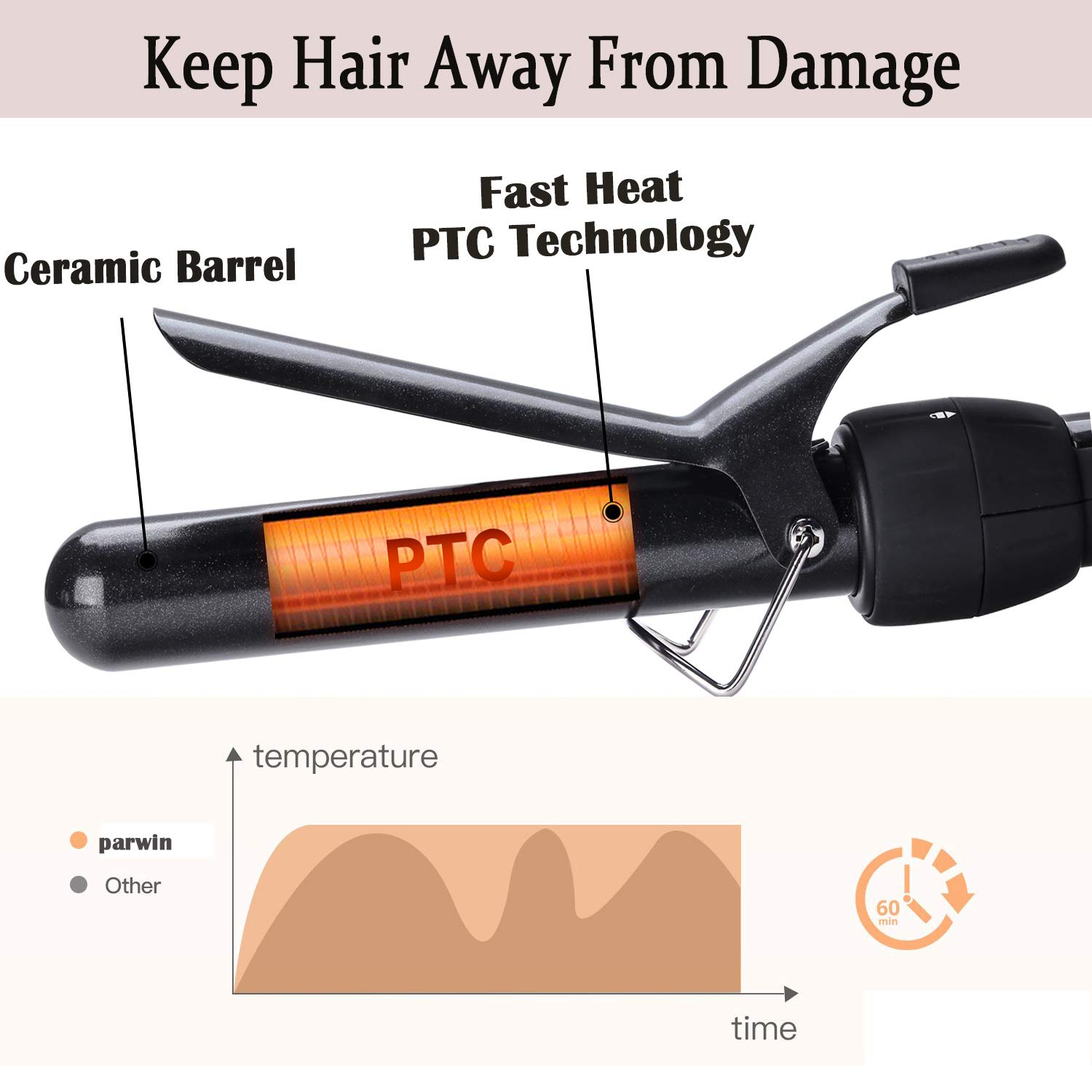 PARWIN BEAUTY Curling Wand 5 in 1 Professional Curling Iron Set 0.3 to 1.25 Inch Interchangeable Ceramic Barrels Hair Curling Iron Wand - Hair Curler for All Hair Types with Glove and Travel Case by PARWIN PRO BEAUTY (Image #4)
