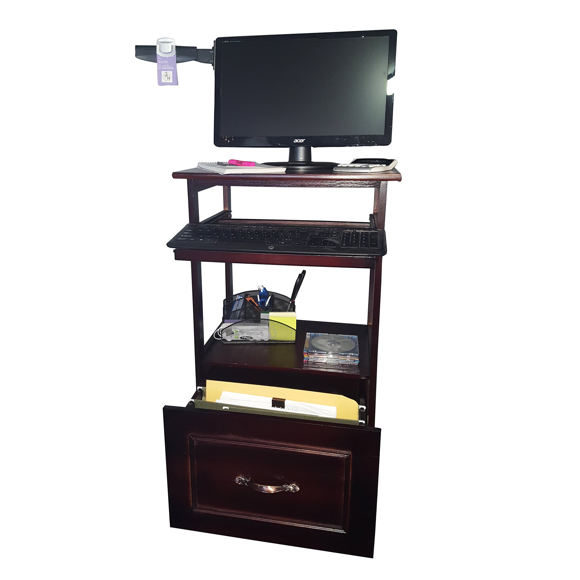 JA Marketing Portable Desk on Wheels, Cherry Wood