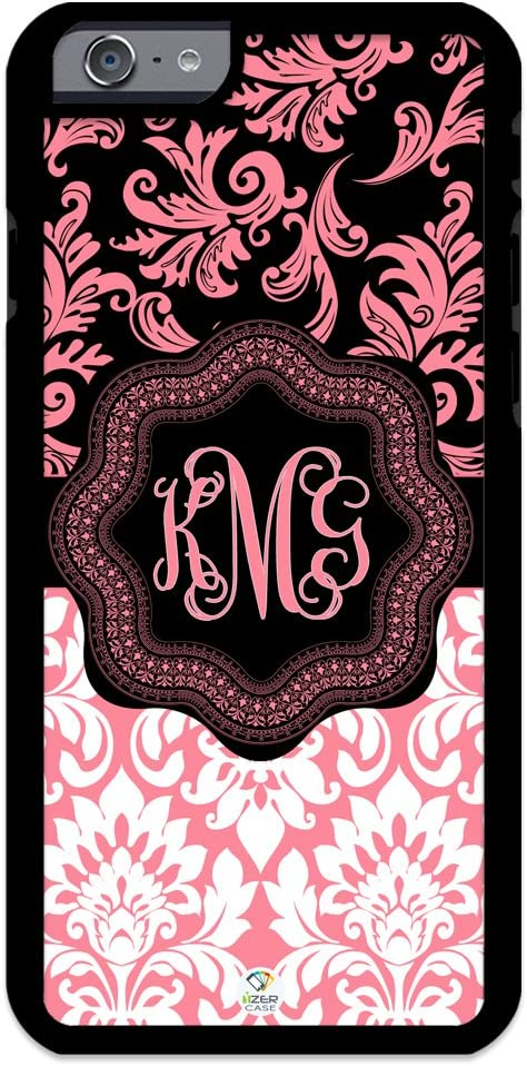 iZERCASE iPhone 6 PLUS, iPhone 6S PLUS Case Monogram Personalized Light Pink and White Pattern RUBBER CASE - Fits iPhone 6 PLUS, iPhone 6S PLUS T-Mobile, AT&T, Sprint, Verizon and International (PINK)