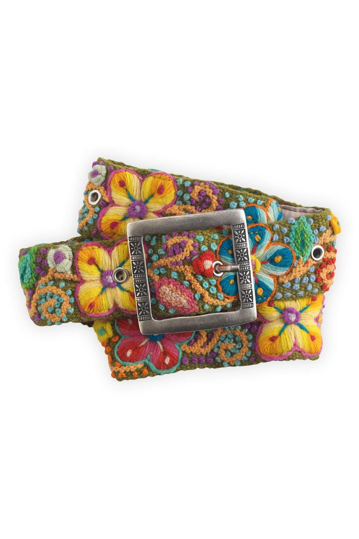 Tey-Art Flora Hand Embroidered Fair Trade Wool Belt (S, Olive)