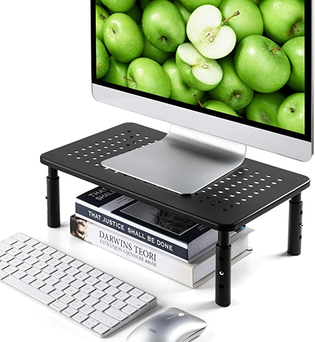 LORYERGO Monitor Riser Stand - 3 Height Adjustable Computer Stand, Laptop Stand Riser with Metal Vented Platform & Underneath Storage for Printer, Desk Organizer for Office & Home