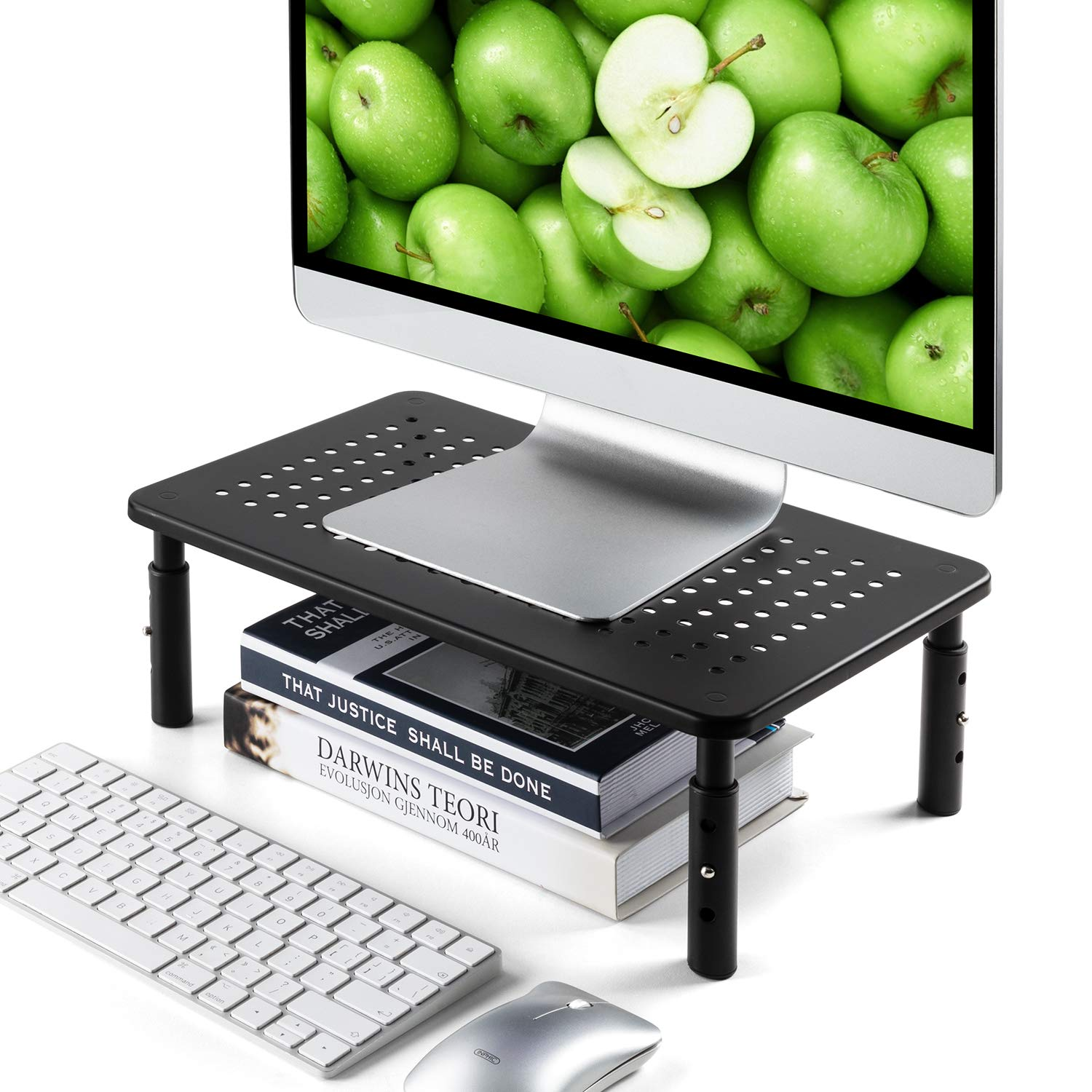 LORYERGO Monitor Stand - 3 Height Adjustable Computer Stand, Laptop Stand Riser w/Metal Vented Platform, Monitor Riser Stand for Printer, Laptop, PC, Desktop Stand for Office & Home