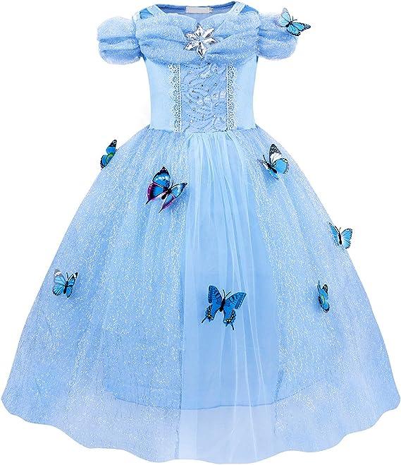 Beauty Full Blu Principessa Tiara /& Bacchetta Magica Set Bambini Ragazze Party Costume Han-S