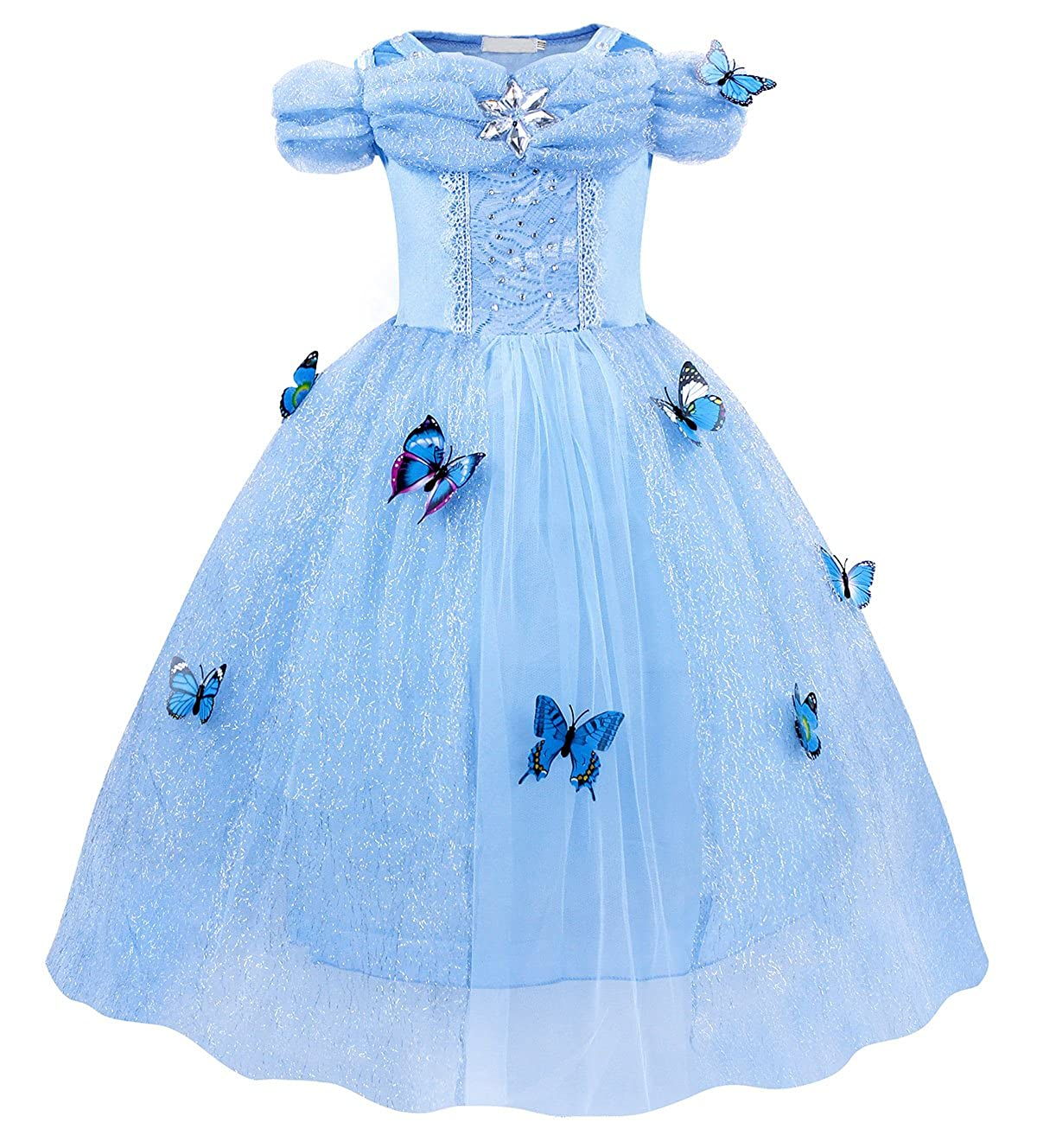 AmzBarley Cinderella Dress Girls Costume Butterfly Birthday Party Princess Cosplay G014-100-CA