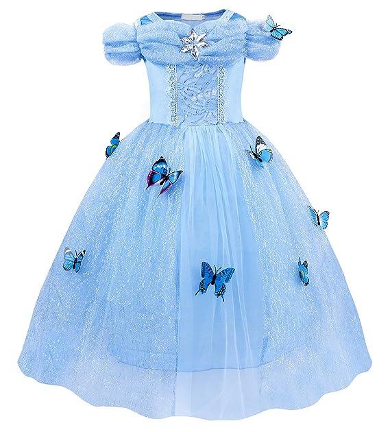 AmzBarley Vestido Traje Niñas Princesa Cenicienta de Tul Fiesta Boda ... 2f4d63ea22f7
