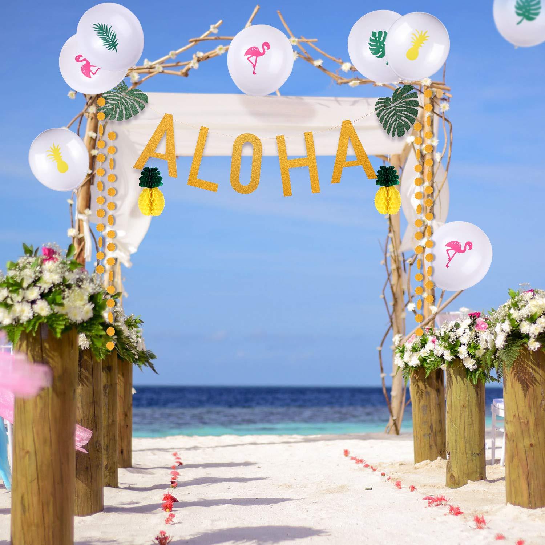 163 Pezzi Set di Decorazioni per Feste Tropicali Include Palloncini Tropicali Ananas Flamingo Ananas Flamingo Decorazioni per Festa Aloha Ananas di Carta Foglia di Palma Tropicale Fiori di Ibisco