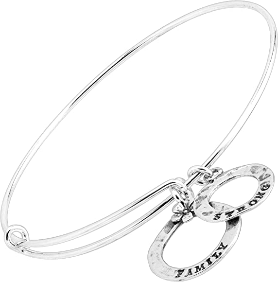 Adult Child Silver Wire Bangle Charm Bracelet Sterling Silver Sand Dollar Stacking Adjustable Add Birthstone Initial Style 601-1899
