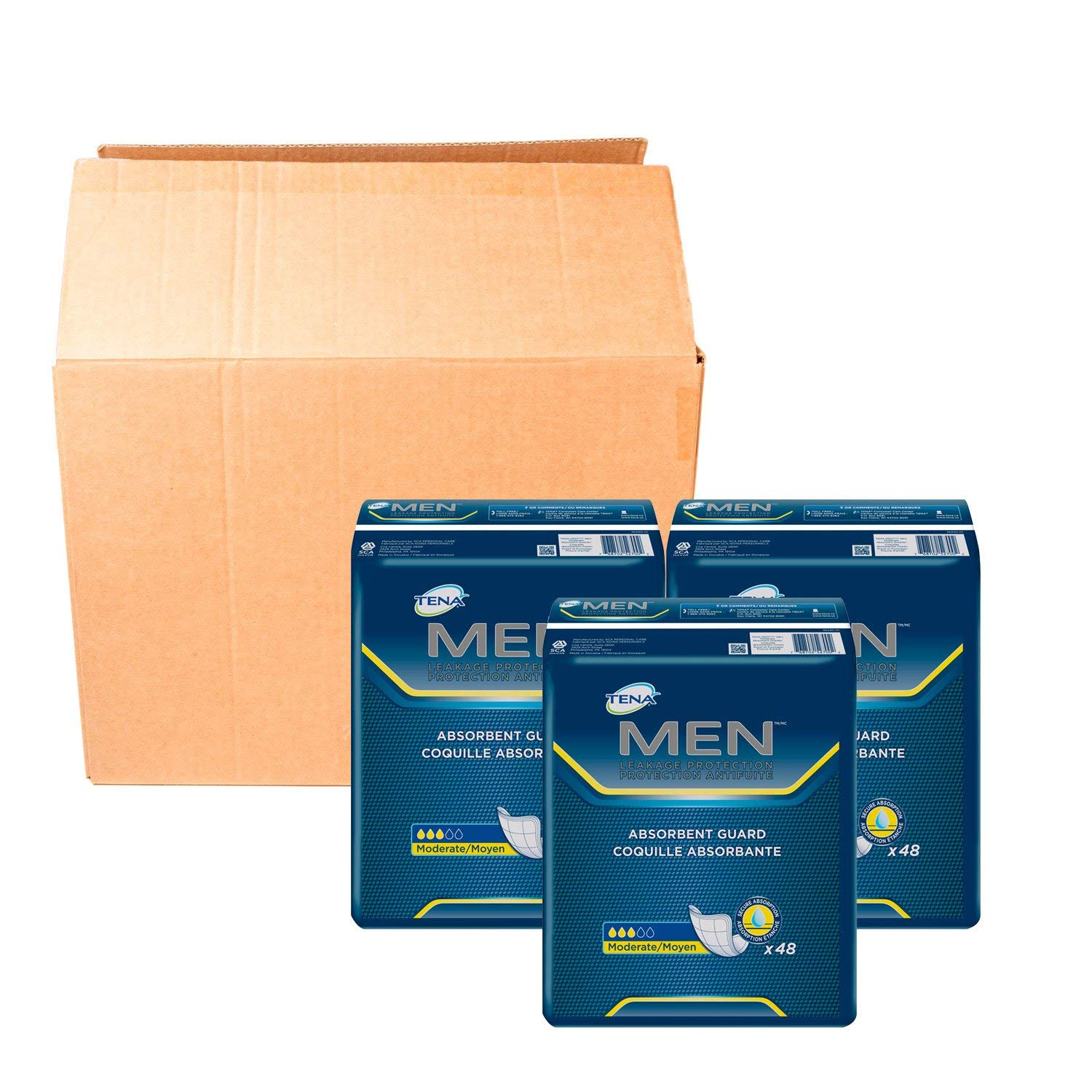 TENA Incontinence Guards for Men, Moderate Absorbency, 144 Count (4 case(144 Count))