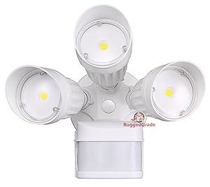 30 Watt LED Motion Sensor Flood Light – White Color – 2,600 Lumen – Super Wide 240 Degree Motion Sensor – 3000K Warm White – 20 Yr - LED Motion Flood Light - LED Motion Sensor Light Outdoor