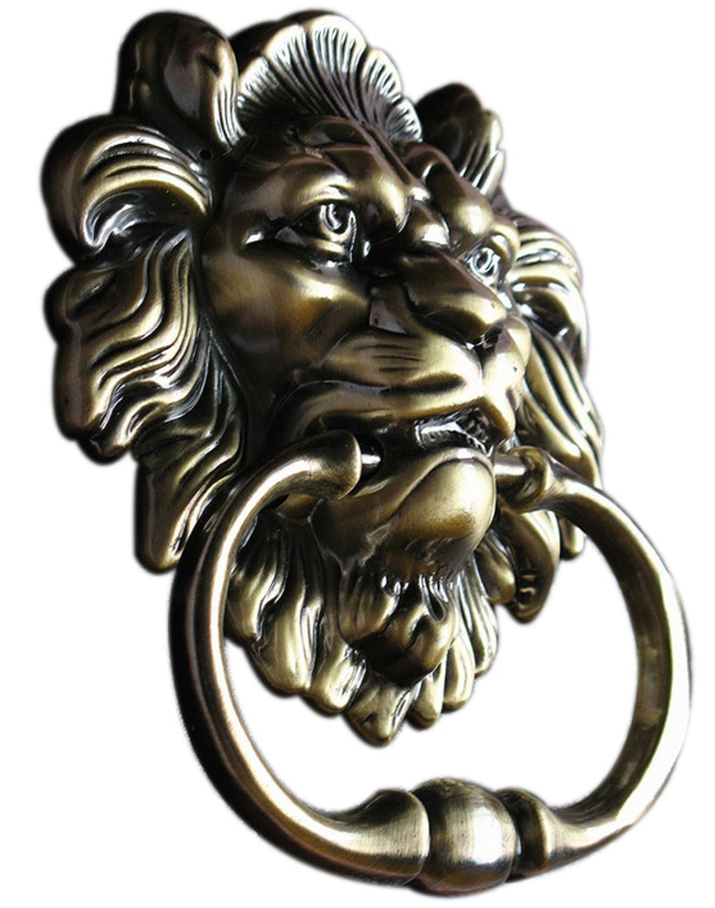Lion Head Door Knocker Handle Pull Antique Bronze Style Rustic Entry Door  Decor
