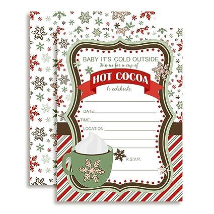 Amazon Com Hot Cocoa Birthday Party Invitations 20 5 X7 Fill In