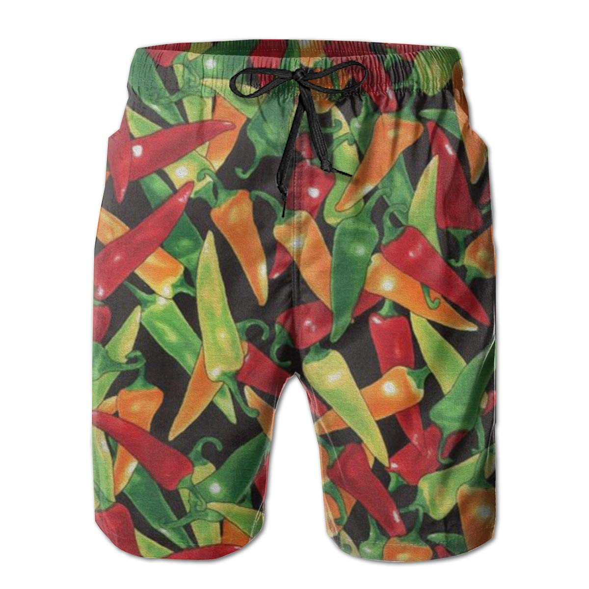 FASUWAVE Mens Swim Trunks Chili Quick Dry Beach Board Shorts with Mesh Lining