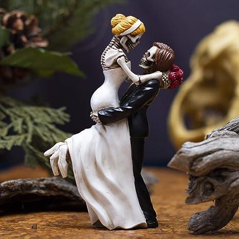 6.5 tall SKELETON LOVE NEVER DIES HALLOWEEN WEDDING CAKE TOPPER FIGURE FIGURINE