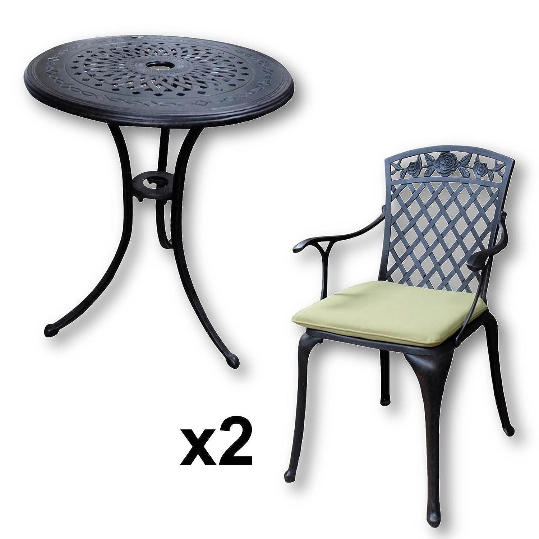 Perfekt Details Zu Lazy Susan U2013 ELLA 60 Cm Bistrotisch Mit 2 Stühlen U2013 Rundes  Gartenmöbel Set Aus Metall, Antik Bronze (ROSE Stühle, Grüne Kissen)