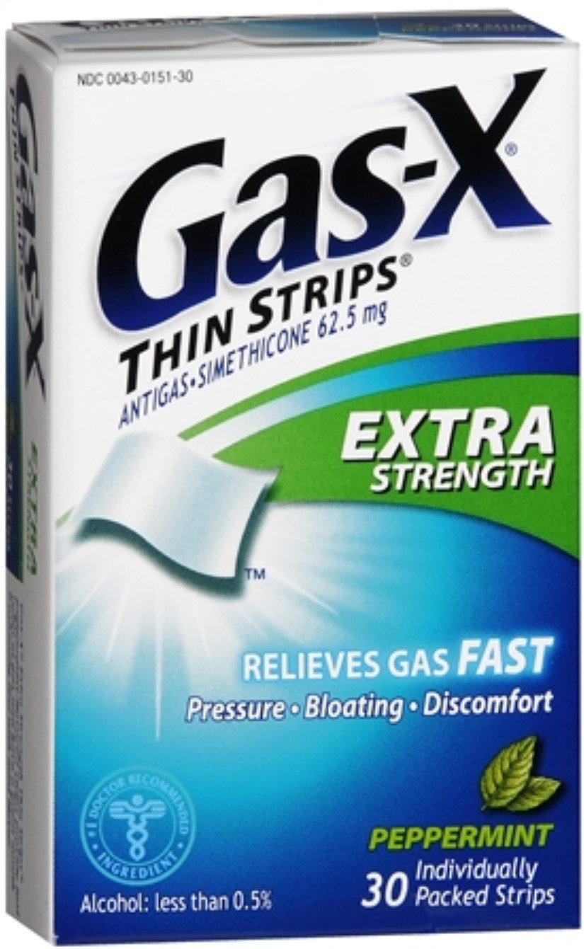 Gas-X Thin Strips Extra Strength Peppermint 30 Each (Pack of 12)