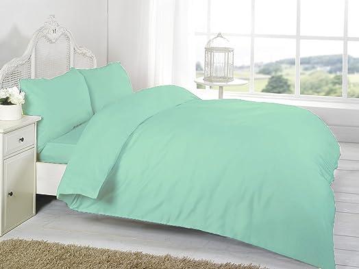 Mint Green Plain Dyed Double Duvet/Quilt Cover Set With Pillow ... : green quilt cover - Adamdwight.com