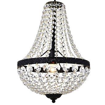 Moderno Imperio francés Acabado en negro Cristal colgante Araña de iluminación Lámpara de lámpara de techo
