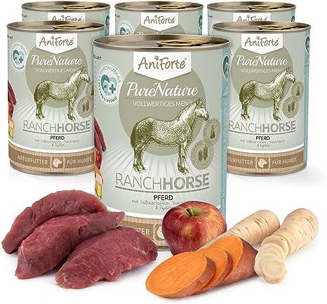 Comida Húmeda para Perros Sin Cereales | Carne de Caballo con Batatas y Manzana (6 x 400g) | Sin Granos Ni Conservantes | Dieta Barf | AniForte