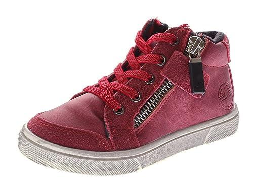 0f5b160941c278 Kinder Knöchel Schuhe Sneaker Schnürer gefüttert Jungen Mädchen Halbhoch  Wild Leder Rot Gr. 25