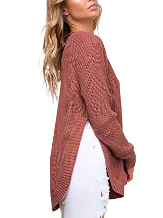 01cb359ba0658c Glamaker Women s Pullover Split Knit Sweater Long Sleeves Crew Neck Loose  Sweater Brick Red
