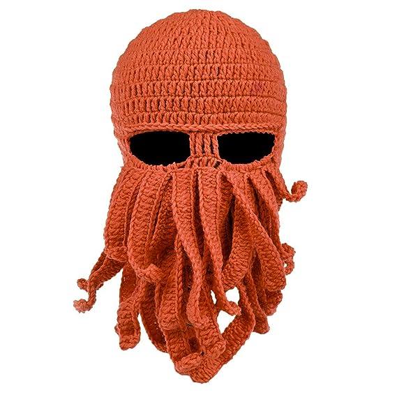 Vbiger Barba sombrero gorro Knit Gorro Invierno Cálido Octopus Funny  cortavientos para hombres y mujeres d04cad8736f