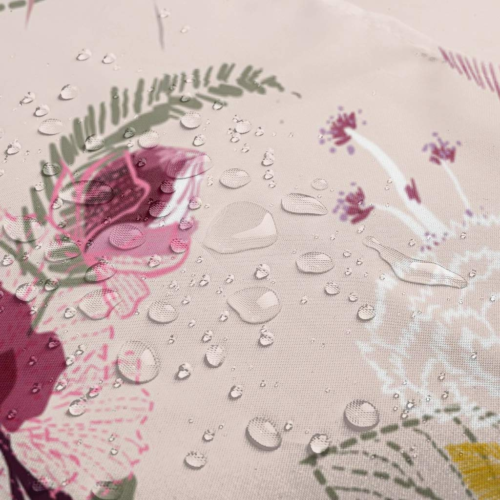 Motivo Floreale 120 x 200 cm Bianco djfrnuki Tenda da Bagno con Chiusura per Supporto e Vasca da Bagno Poliestere Rivestimento Rimovibile in Poliestere