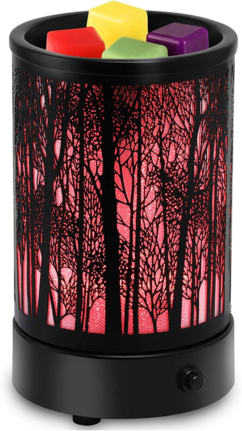 Hituiter christmas wax warmer for scented wax with 7 Colors LED Lighting Oil lamp Wax Burner Candle Melt Warmer Metal Classic Black Forest Design for Fragrance Home Décor,Gifts