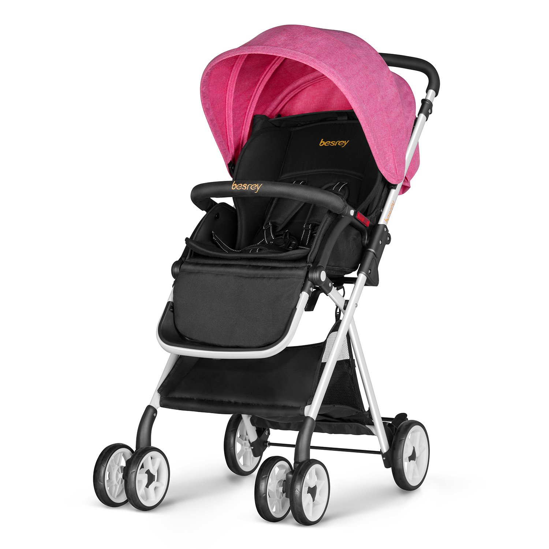 Besrey Lightweight Baby Stroller Foldable Infant Baby Stroller - Pink BR-C7035