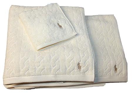Ralph Lauren Bath Sheet New Polo Ralph Lauren Cable Towel Set 60 Cream Face Cloth Bath Sheet JK60