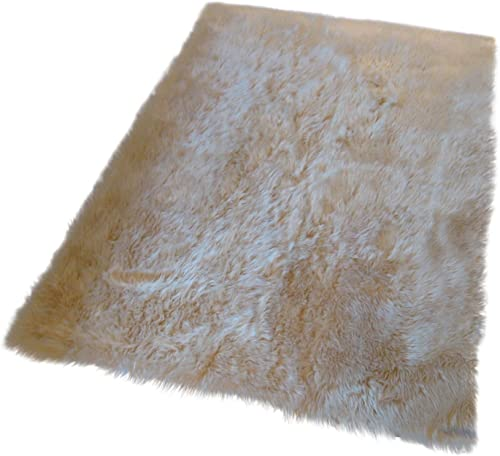 Flokati Faux Fur Rugs 4 X 4 Beige