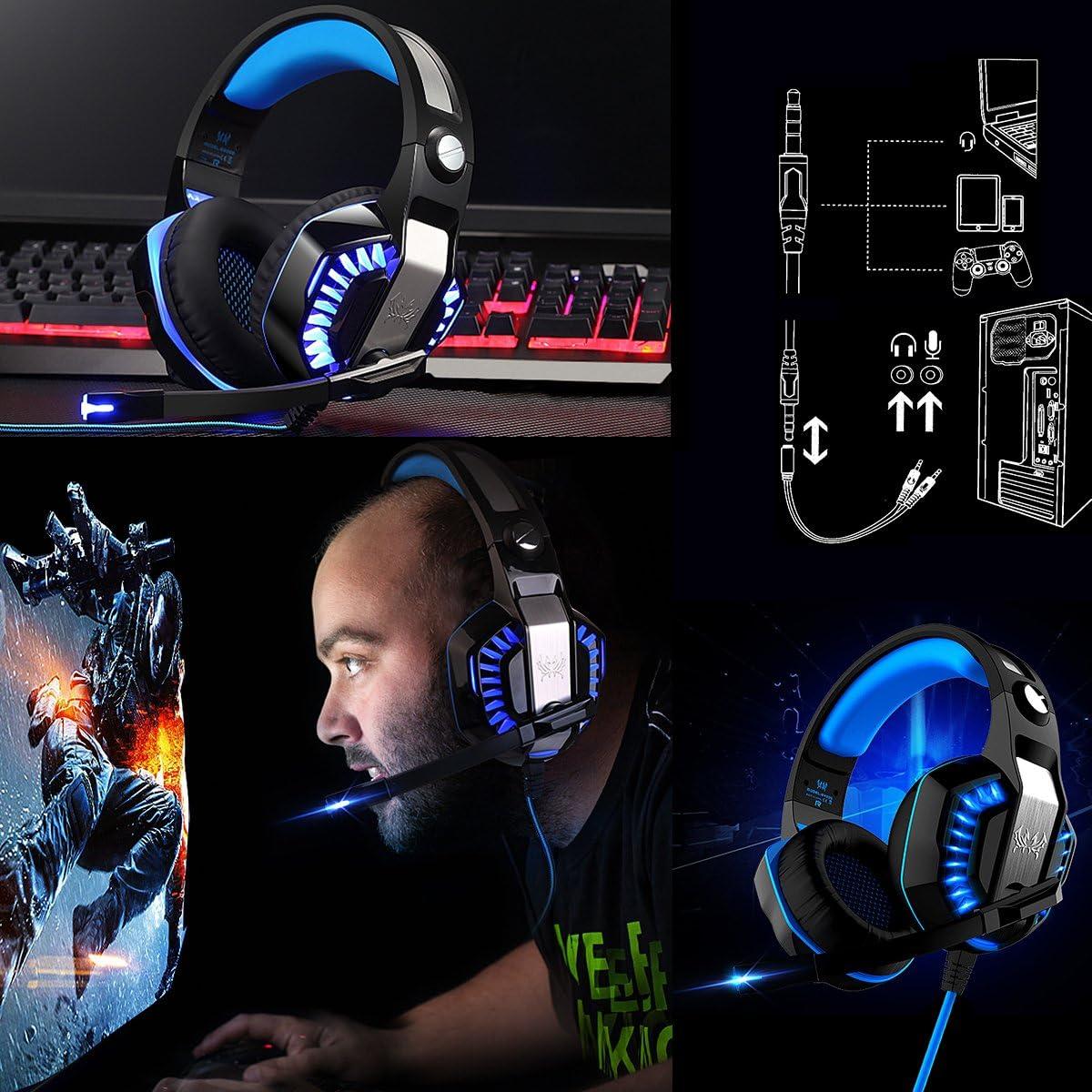 KOTION EACH G2000 USB+3.5mm Cuffie Gaming per PS4 con Microfono Cuffia da Gioco Gamer Stereo LED Luce Regolatore di Volume Noise Cancelling per Xbox One//PS4//PC//Laptop//Mac