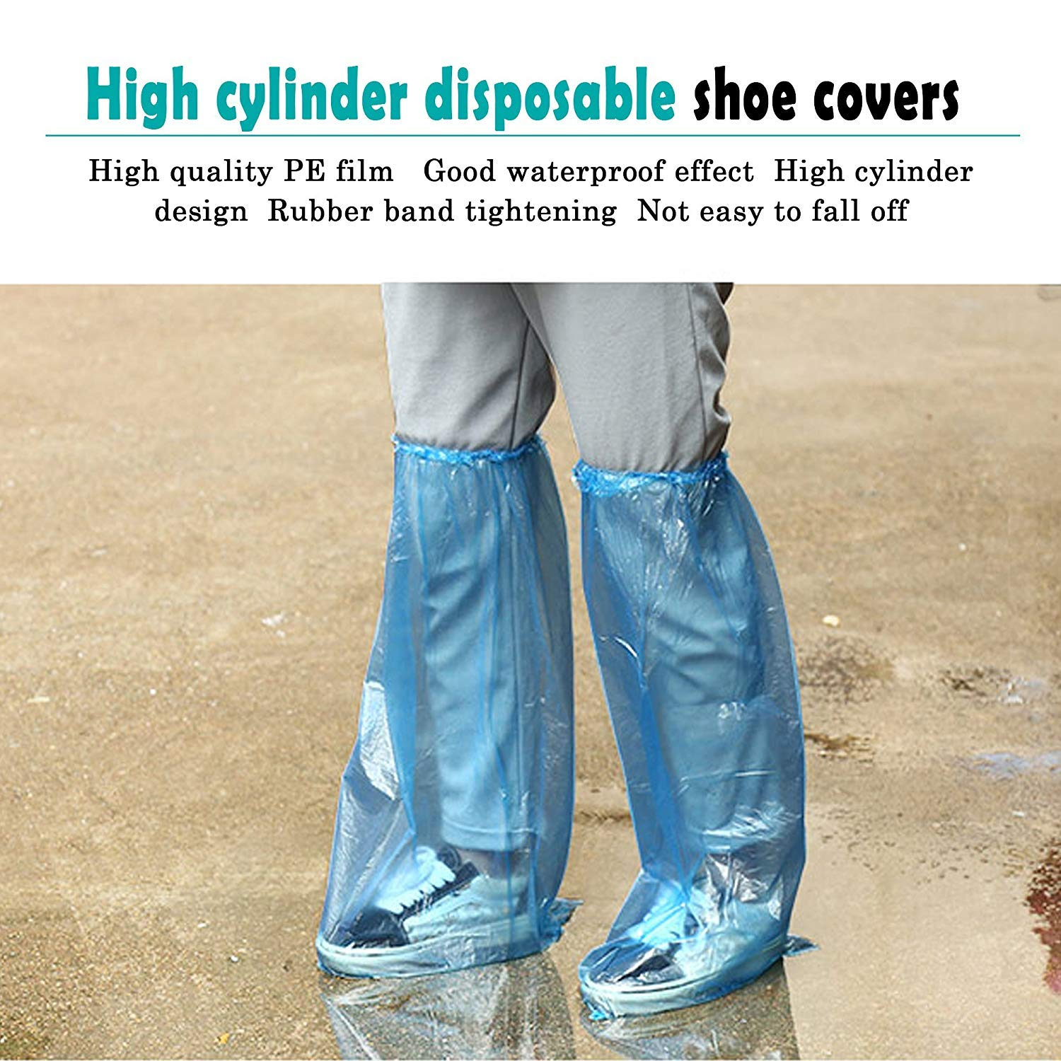 HUABEI 10 Pack Disposable Shoe Covers Blue Rain Shoes and Boots Cover Plastic Long Shoe Cover Clear Waterproof Anti-Slip Overshoe for Women Men Water Boots Cover Rainy Day Use Cover
