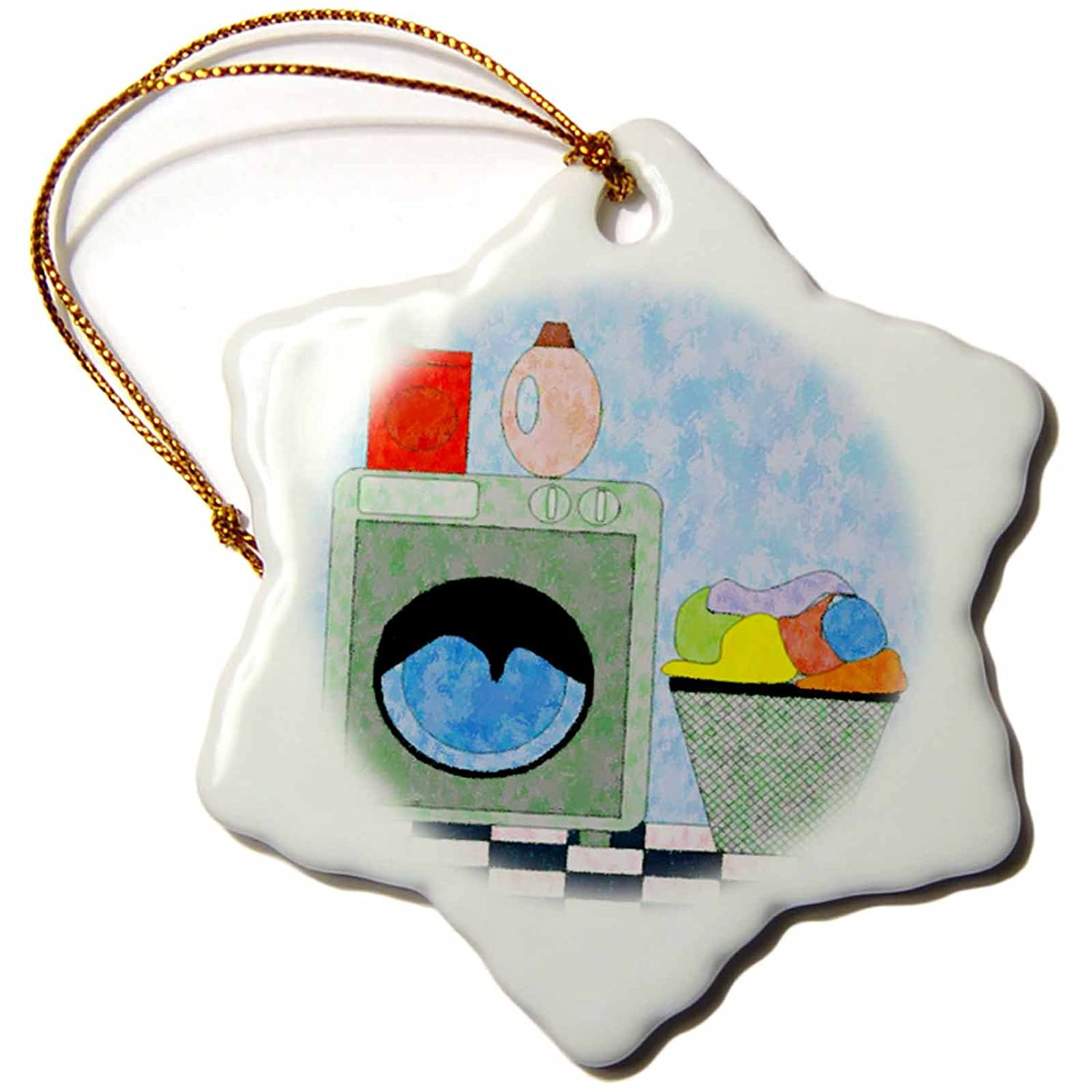 3-Inch 3dRose orn/_44848/_1 Red Blue Green Laundry Room-Snowflake Ornament Porcelain