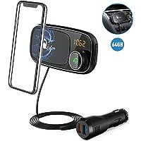 Bluetooth FM Transmitter with Car Phone Mount, Qidoe Car Radio Audio Adapter MP3 Music Player Hands-free Car Kit Support Bluetooth 4.2, 64GB TF Card, QC3.0 USB Port, Magnetic Car Phobe Holder