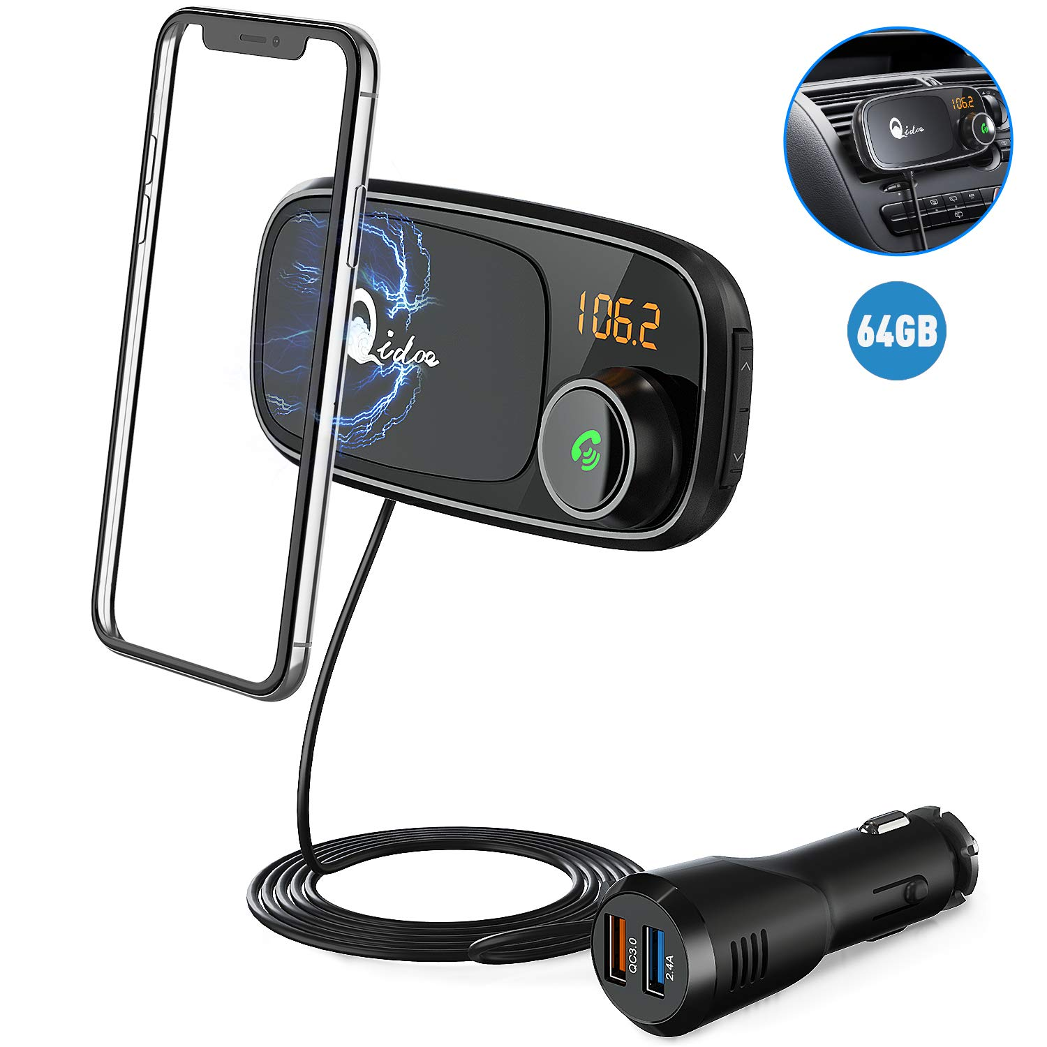 Bluetooth FM Transmitter with Car Mount, QC 3.0 Wireless FM Radio Adapter MP3 Music Player Car Kit with Hands Free Call, Dual USB Bluetooth Cigarette Lighter Car Charger, 1M Cable, Magnetic Holder by Qidoe