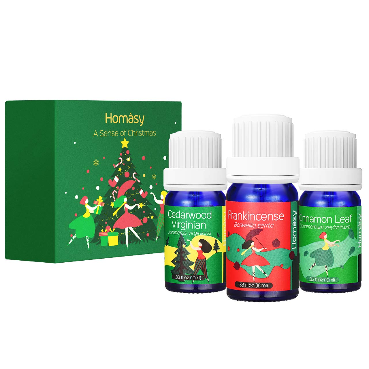 Homasy Aromatherapy Essential Oils Christmas Limited-edition Gift Set, 100% Pure Premium Therapeutic Grade Oils Kit (3 Bottles)
