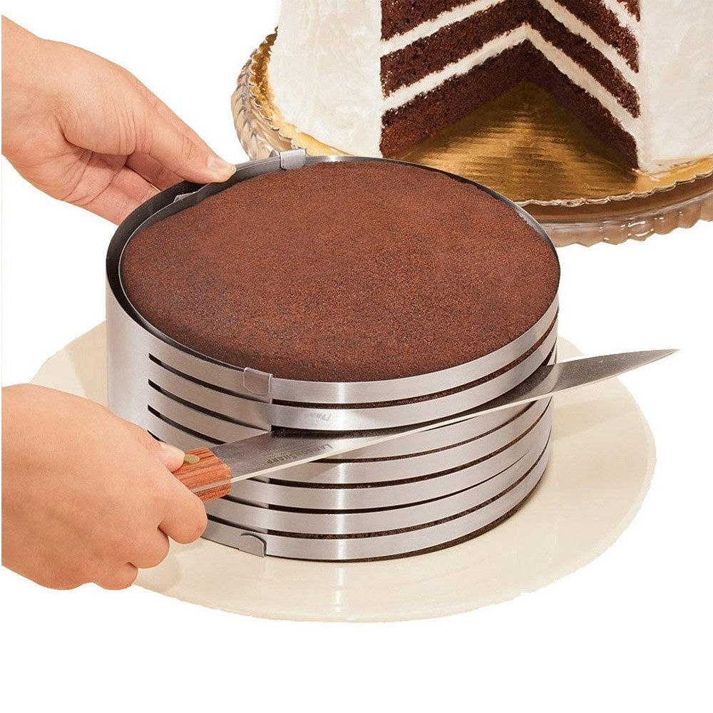 Adjustable 7 Layer 9 Inch - 12 Inch Stainless Steel Layer Cake Slicer Mousse Mould, Making Cakes, Bread, Biscuit, Cookies, Chocolate