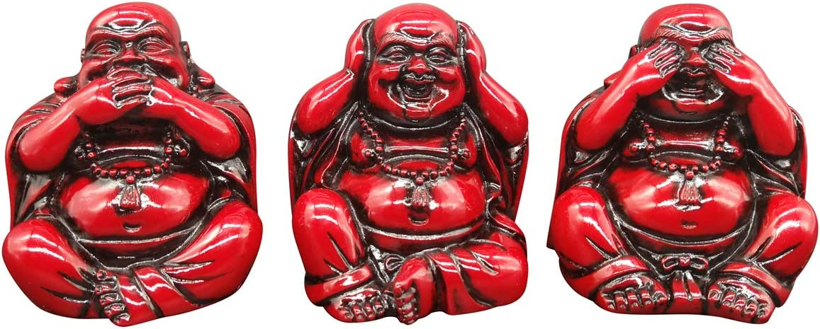 2.7'' Red Buddha Statues Home Decor Set of 3 (Do not Listen, Do not See, Do not Talk) Home Decoration Office Meditation Room Resin Buddhas