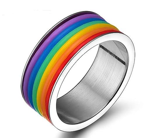 Daesar Homosexual Anillo Acero Inoxidable de Mujer Hombre, Silicona Tira Arco Iris Sortija Orgullo Gay