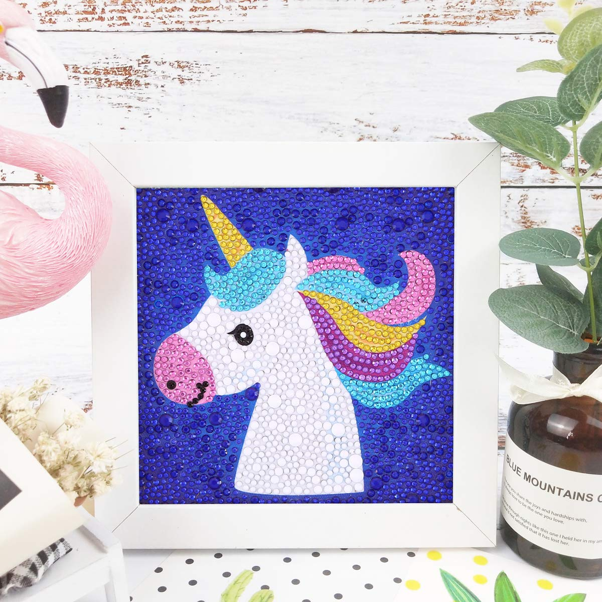Wishing Bear Maydear Small and Easy DIY 5d Diamond Painting Kits with Frame for Beginner with White Frame for Kids 6X6 inch
