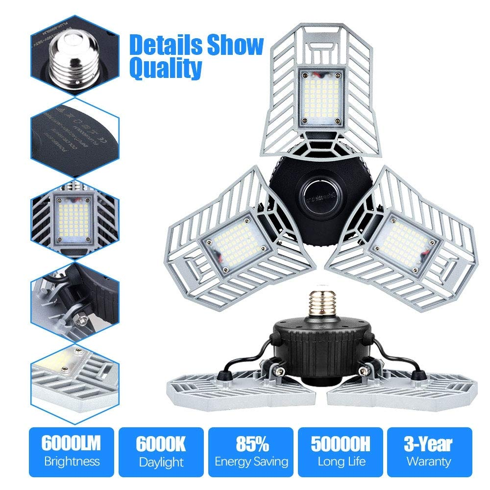 Garage Light 6000 Lm Deformable LED Garage Ceiling Lights 60W CRI 80 Led Shop Lights for Garage 3 Adjustable Panels Utility Led Garage Lighting (No Motion Activated) (60W Standard)