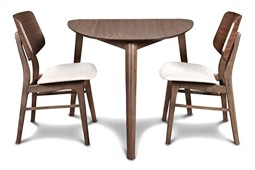 New Classic Furniture 40-1651-D2C Mid-Century Modern Oscar Corner Table 3-Piece Dining Set, Walnut