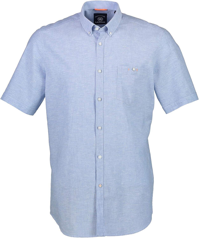 LERROS - Camisa de manga corta azul XXXL: Amazon.es: Ropa y accesorios
