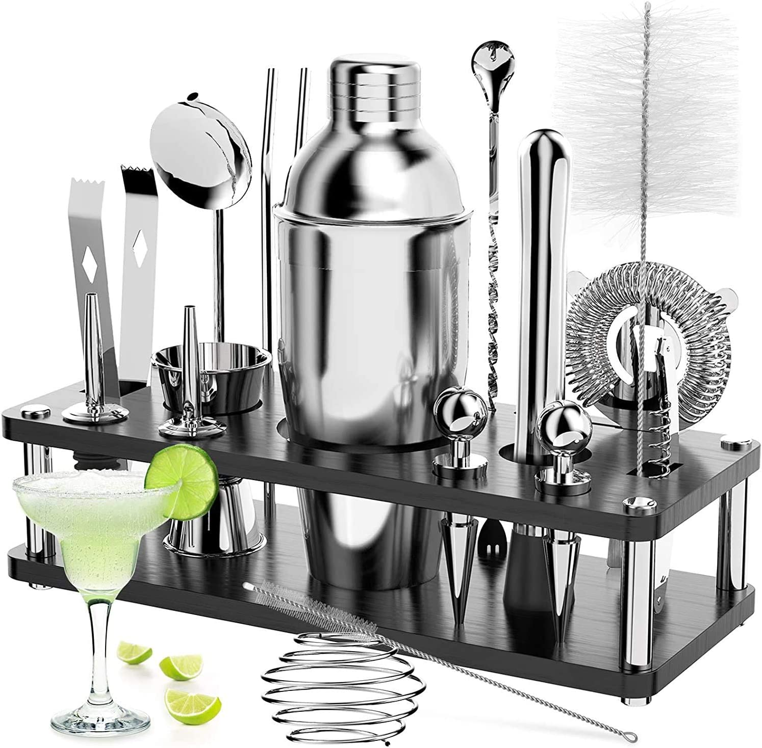 18 Pcs Bartender Kit Cocktail Shaker Set with Stand, RATEL Stainless Steel Professional Bar Tool, Cocktail Martini Shaker Kit Including Shaker, Muddler, Jigger, Strainer, Recipes Booklet