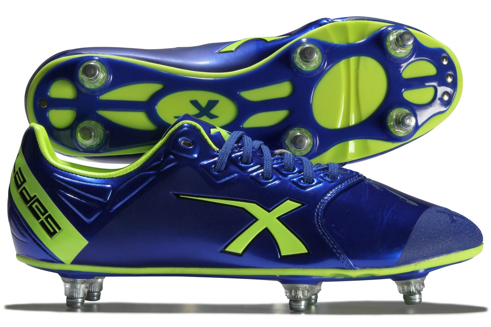 X Blades Sniper Speed 6 Stud Rugby Boot, Blue/Green, US10