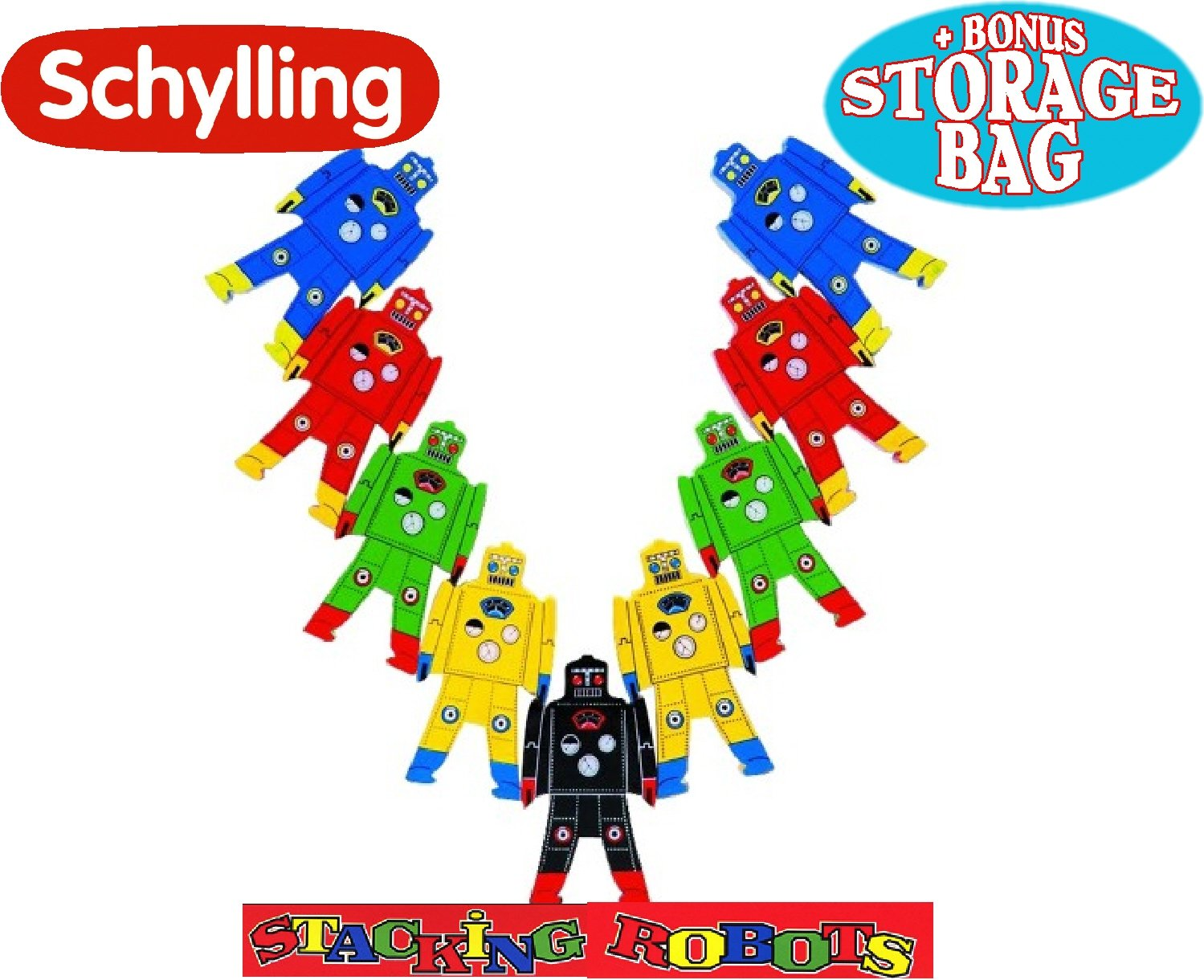 Schylling Wood Stacking Robots Deluxe Set with Bonus ''Matty's Toy Stop'' Storage Bag