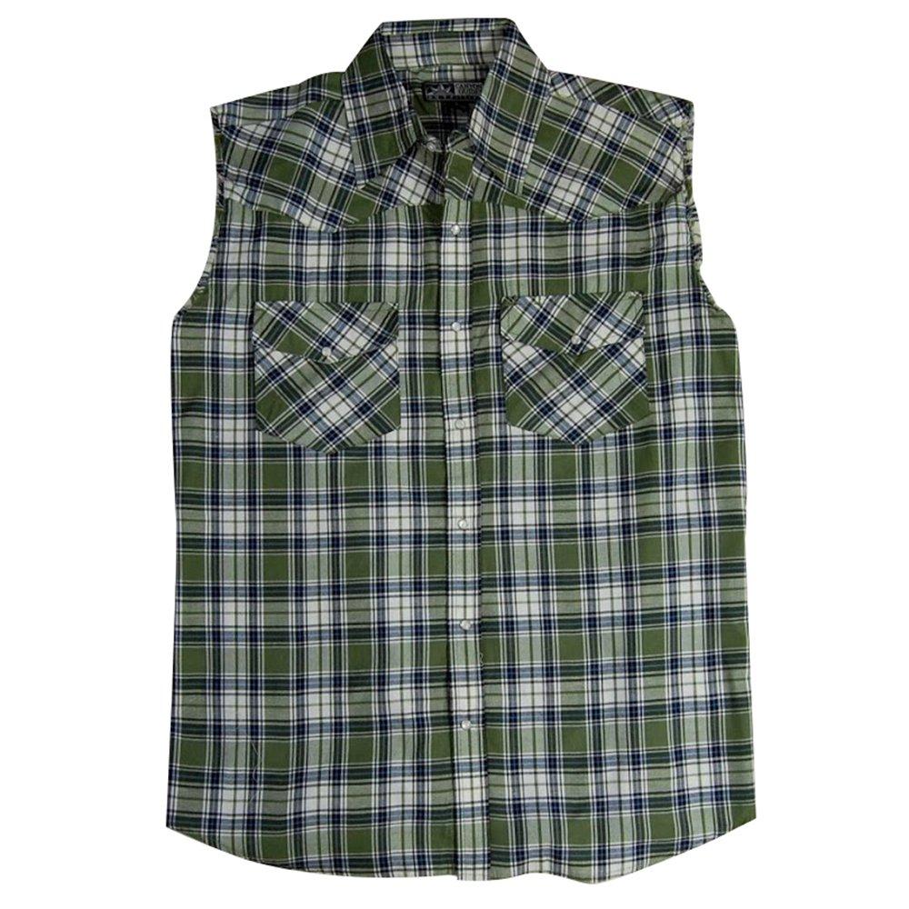 Pearl Snap Front Mens Sleeveless Plaid Country Boy Shirt