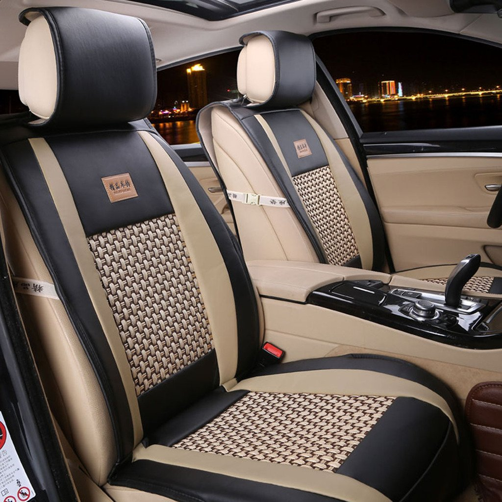 Car Seat Cover Cushions PU Leather, FuriAuto Front Rear Full Set Car Seat Covers for 5 Seats Vehicle Suitable for Year Round Use(Black)